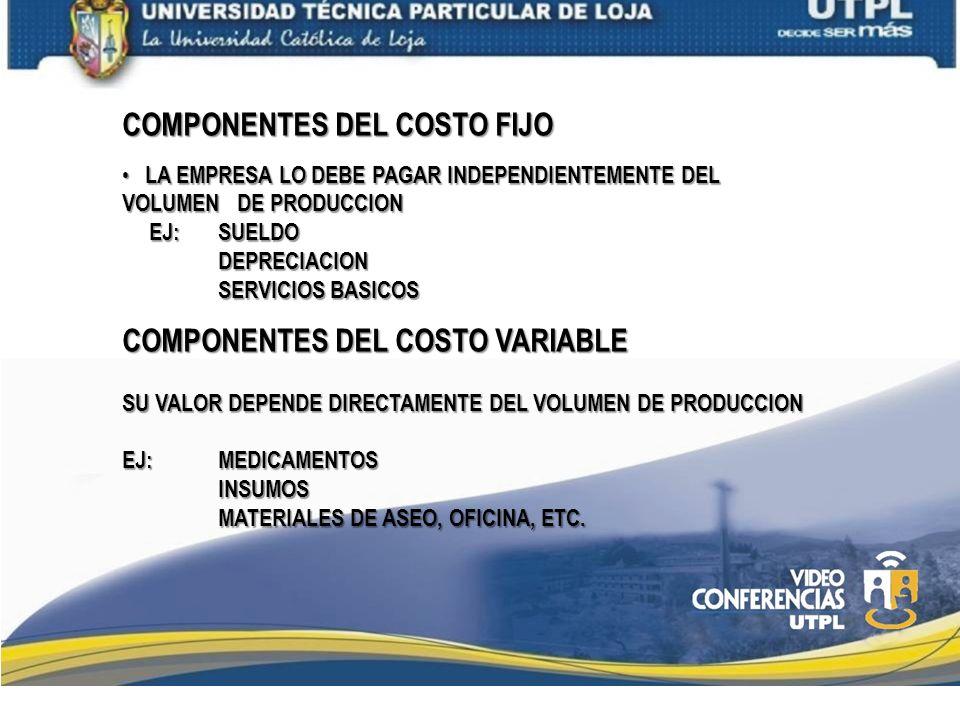 COMPONENTES DEL COSTO FIJO LA EMPRESA LO DEBE PAGAR INDEPENDIENTEMENTE DEL VOLUMEN DE PRODUCCION LA EMPRESA LO DEBE PAGAR INDEPENDIENTEMENTE DEL VOLUM