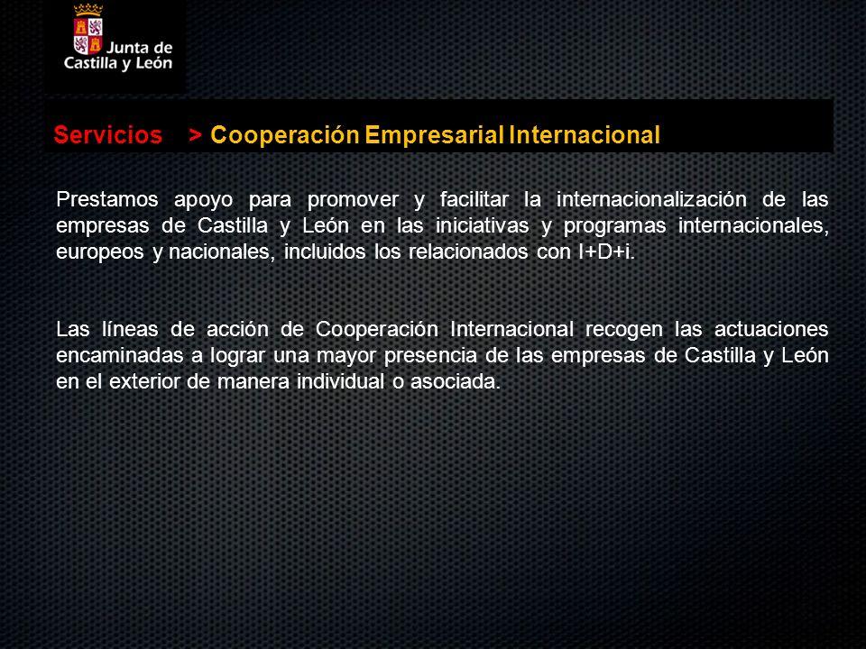. Servicios>Cooperación Empresarial Internacional Prestamos apoyo para promover y facilitar la internacionalización de las empresas de Castilla y León