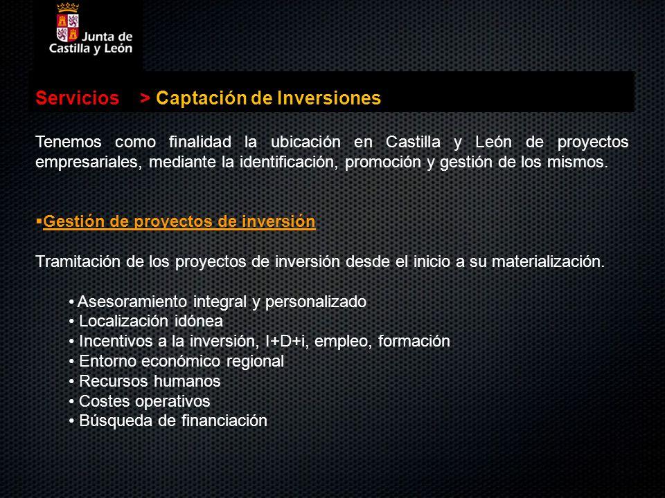 Servicios>Captación de Inversiones Tenemos como finalidad la ubicación en Castilla y León de proyectos empresariales, mediante la identificación, prom