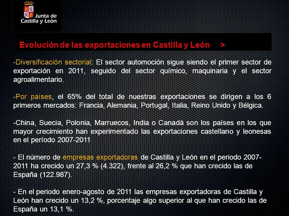 Evolución de las exportaciones en Castilla y León> -Diversificación sectorial: El sector automoción sigue siendo el primer sector de exportación en 20