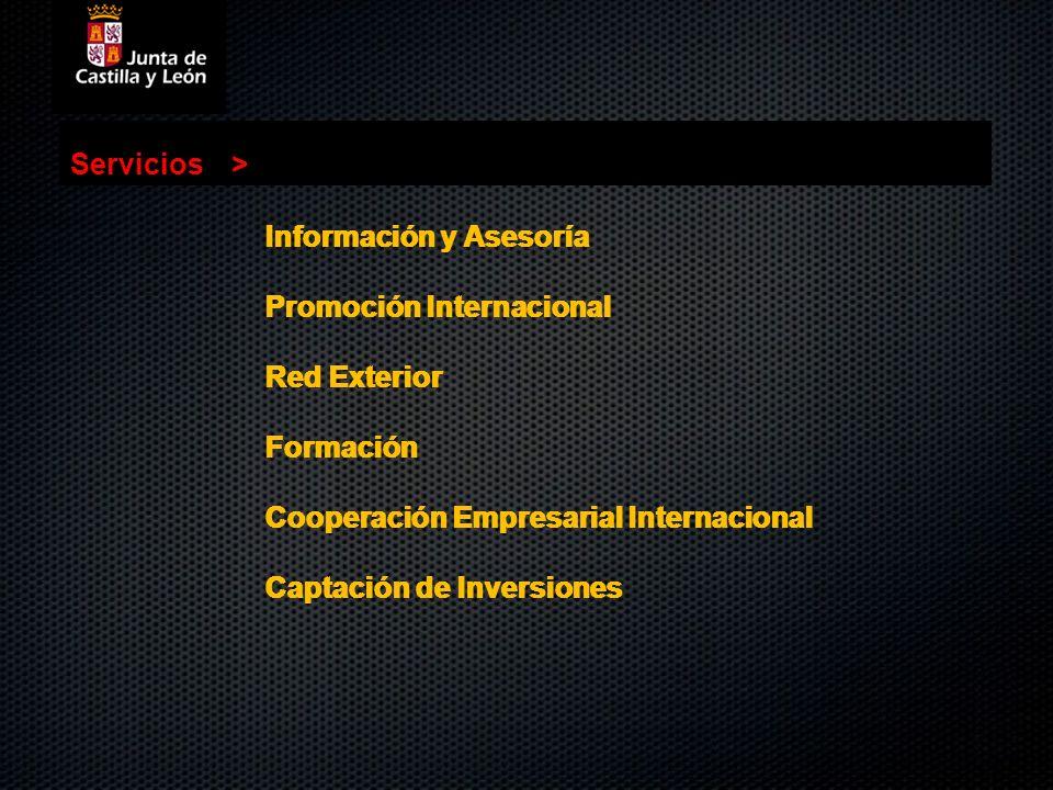 Información y Asesoría Promoción Internacional Red Exterior Formación Cooperación Empresarial Internacional Captación de Inversiones Servicios> Inform