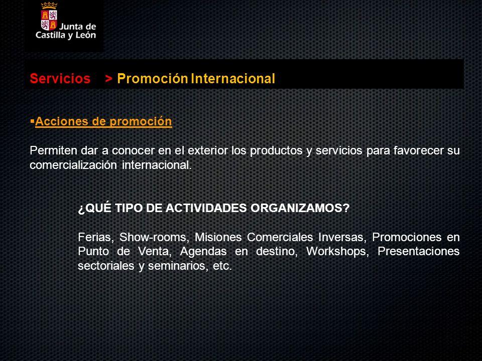 . Servicios>Promoción Internacional Acciones de promoción Acciones de promoción Permiten dar a conocer en el exterior los productos y servicios para f