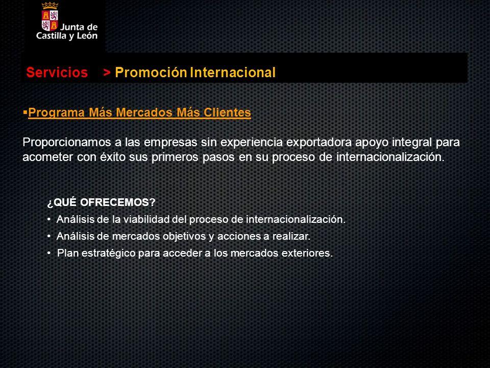 . Servicios>Promoción Internacional Programa Más Mercados Más Clientes Programa Más Mercados Más Clientes Proporcionamos a las empresas sin experienci