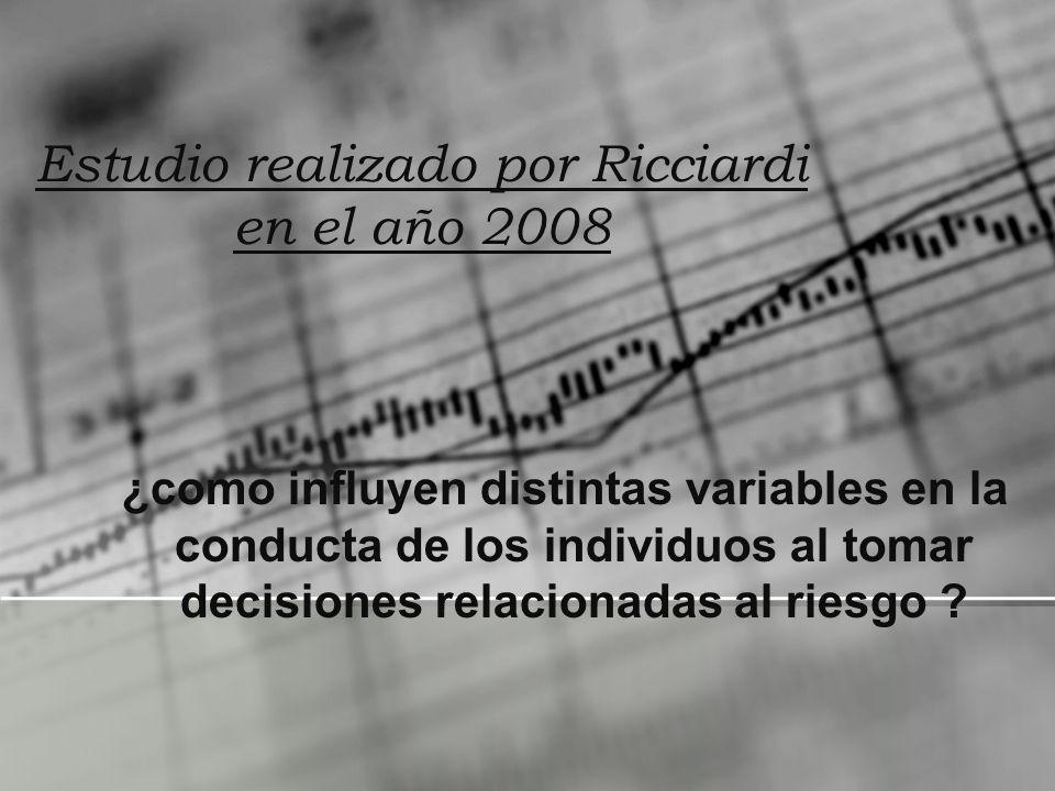 Estudio realizado por Ricciardi en el año 2008 ¿como influyen distintas variables en la conducta de los individuos al tomar decisiones relacionadas al
