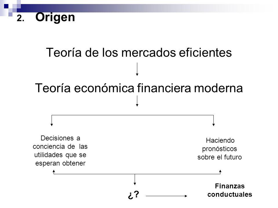 2. Origen Teoría de los mercados eficientes Teoría económica financiera moderna Decisiones a conciencia de las utilidades que se esperan obtener Hacie