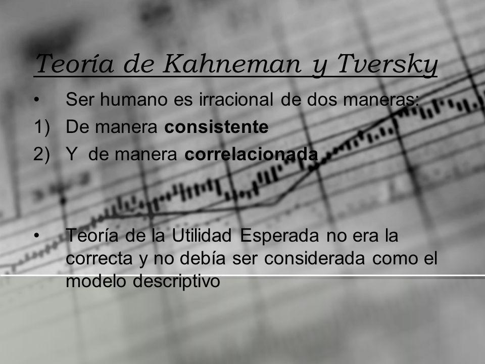 Teoría de Kahneman y Tversky Ser humano es irracional de dos maneras: 1)De manera consistente 2)Y de manera correlacionada Teoría de la Utilidad Esper