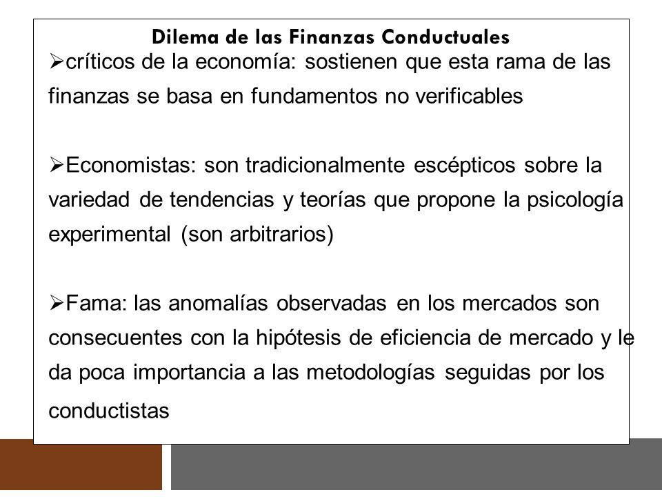 Dilema de las Finanzas Conductuales críticos de la economía: sostienen que esta rama de las finanzas se basa en fundamentos no verificables Economista