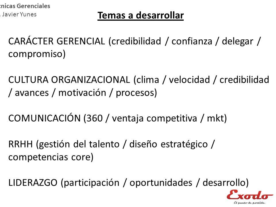 Temas a desarrollar CARÁCTER GERENCIAL (credibilidad / confianza / delegar / compromiso) CULTURA ORGANIZACIONAL (clima / velocidad / credibilidad / av
