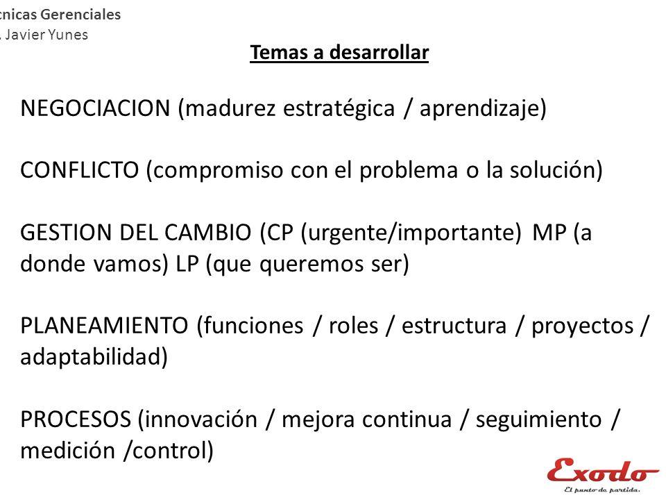 Temas a desarrollar NEGOCIACION (madurez estratégica / aprendizaje) CONFLICTO (compromiso con el problema o la solución) GESTION DEL CAMBIO (CP (urgen