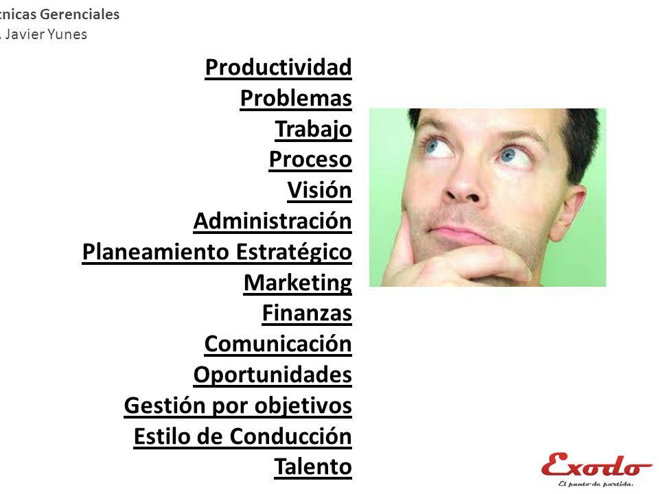 Técnicas Gerenciales Lic. Javier Yunes Productividad Problemas Trabajo Proceso Visión Administración Planeamiento Estratégico Marketing Finanzas Comun
