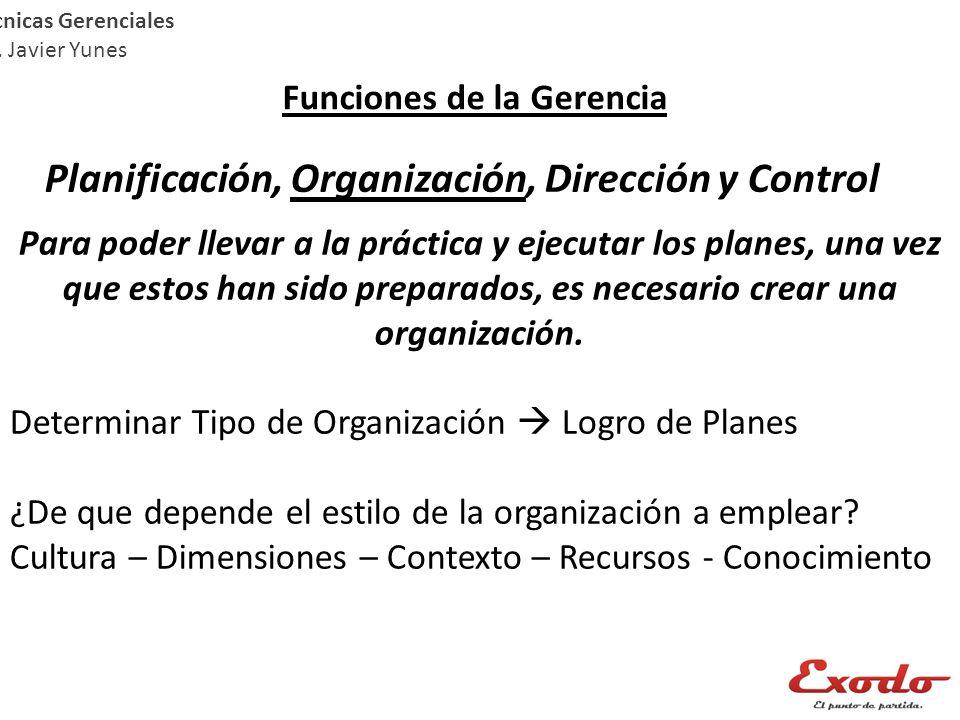 Técnicas Gerenciales Lic. Javier Yunes Funciones de la Gerencia Planificación, Organización, Dirección y Control Para poder llevar a la práctica y eje