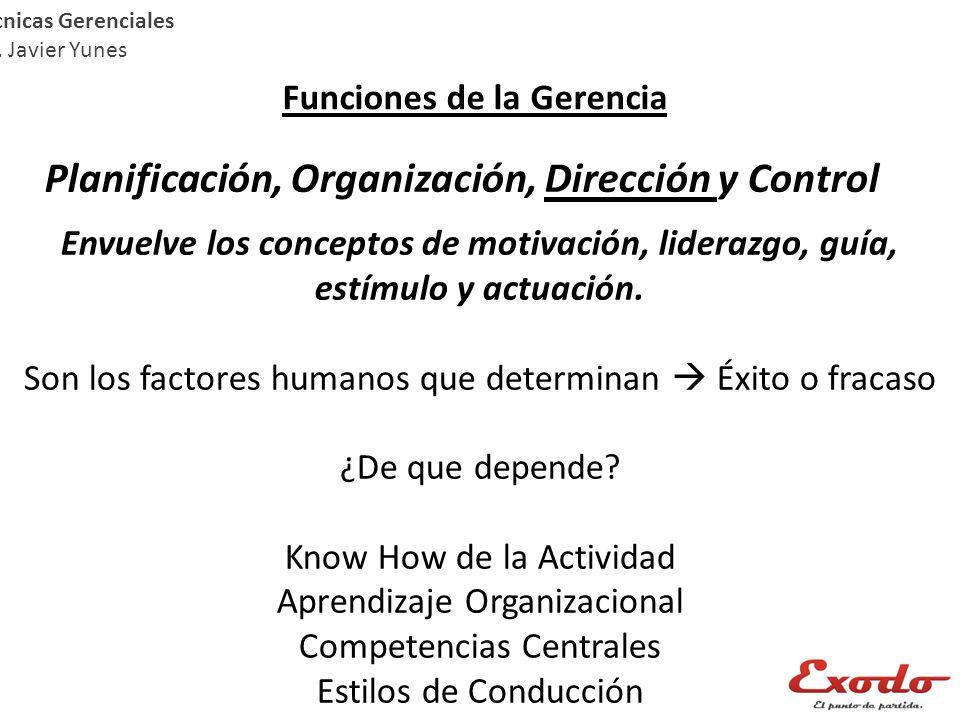 Técnicas Gerenciales Lic. Javier Yunes Funciones de la Gerencia Planificación, Organización, Dirección y Control Envuelve los conceptos de motivación,