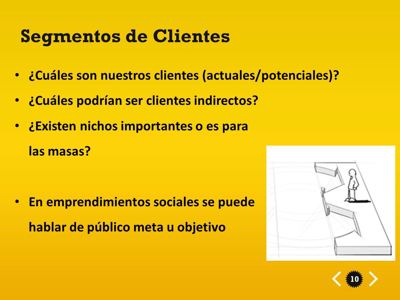 10 Segmentos de Clientes ¿Cuáles son nuestros clientes (actuales/potenciales)? ¿Cuáles podrían ser clientes indirectos? ¿Existen nichos importantes o
