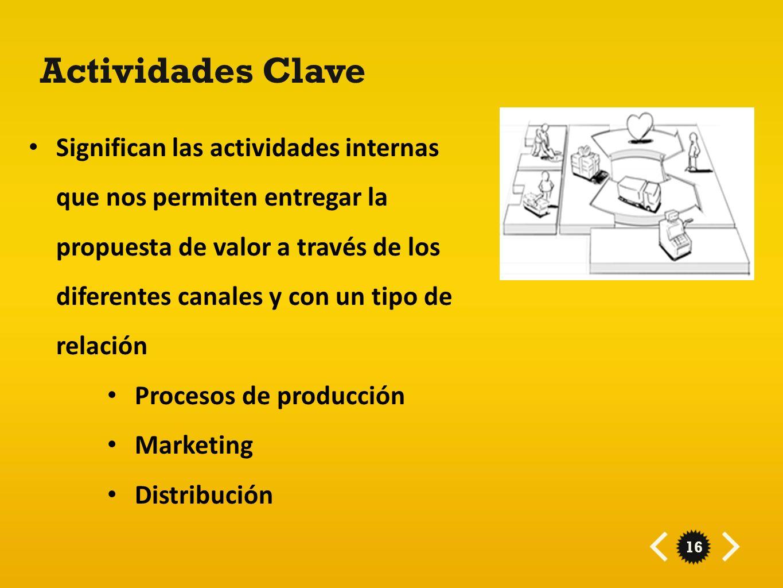16 Actividades Clave Significan las actividades internas que nos permiten entregar la propuesta de valor a través de los diferentes canales y con un t