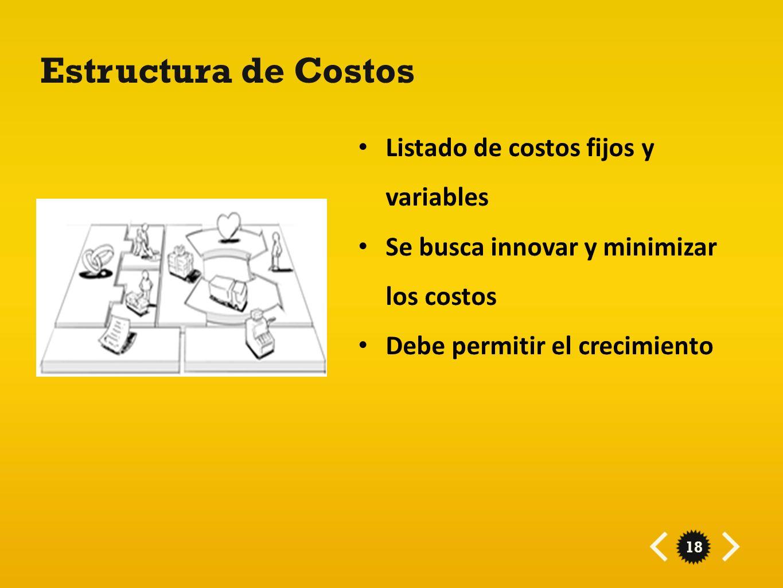 18 Estructura de Costos Listado de costos fijos y variables Se busca innovar y minimizar los costos Debe permitir el crecimiento