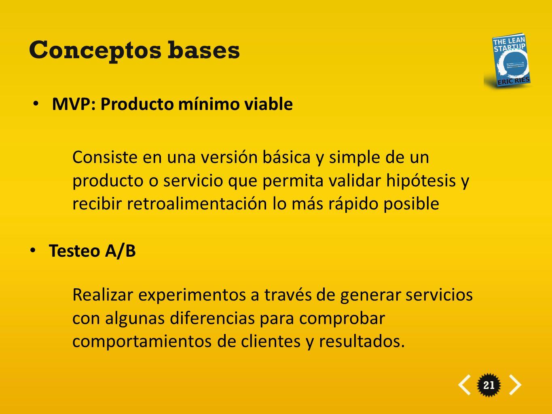 21 Conceptos bases MVP: Producto mínimo viable Consiste en una versión básica y simple de un producto o servicio que permita validar hipótesis y recib