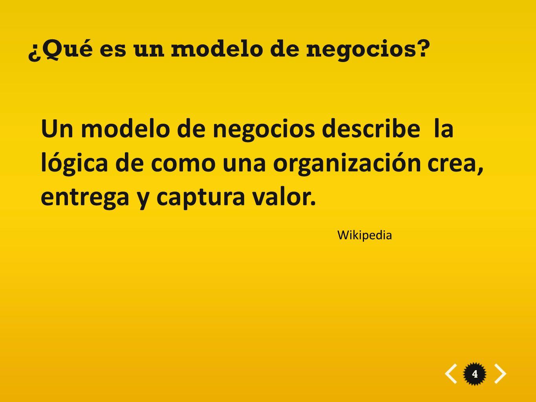 4 ¿Qué es un modelo de negocios? Un modelo de negocios describe la lógica de como una organización crea, entrega y captura valor. Wikipedia