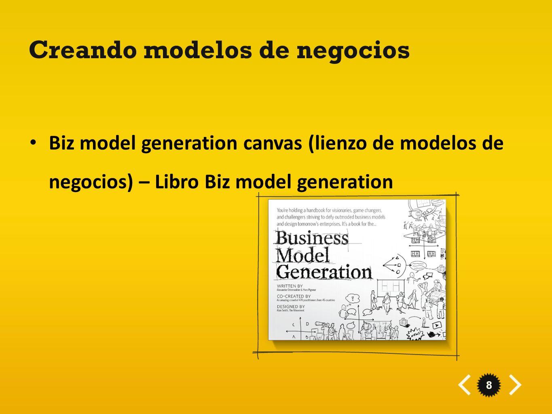 8 Creando modelos de negocios Biz model generation canvas (lienzo de modelos de negocios) – Libro Biz model generation