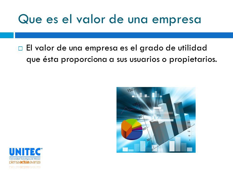 Que es el valor de una empresa El valor de una empresa es el grado de utilidad que ésta proporciona a sus usuarios o propietarios.