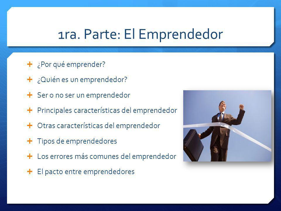 1ra.Parte: El Emprendedor ¿Por qué emprender. ¿Quién es un emprendedor.