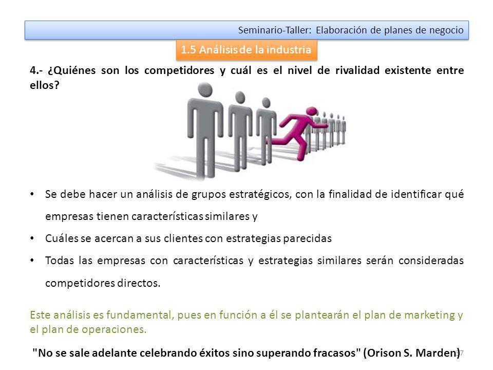36 Seminario-Taller: Elaboración de planes de negocio 1.5 Análisis de la industria 3.- ¿Cuál es el poder de negociación de mis clientes o compradores.