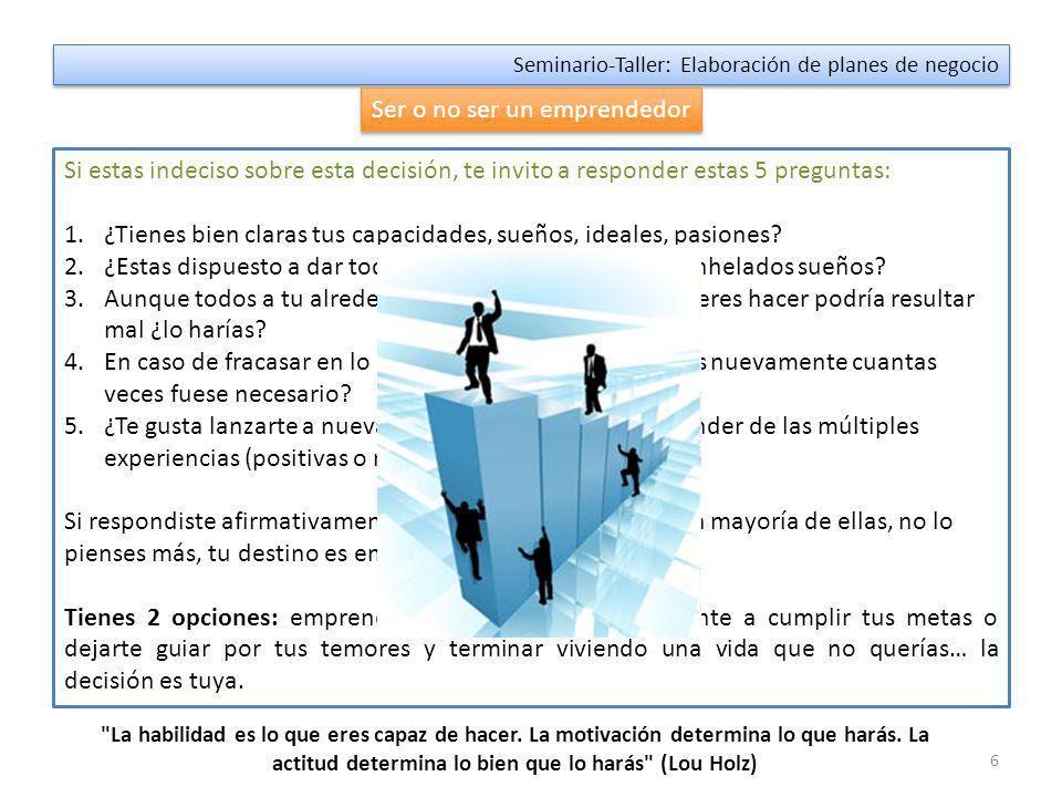 5 Seminario-Taller: Elaboración de planes de negocio ¿Quién es un emprendedor.