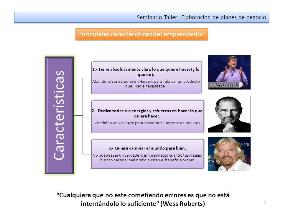 7 Seminario-Taller: Elaboración de planes de negocio Principales características del emprendedor Características 1.- Tiene absolutamente claro lo que quiere hacer (y lo que no).