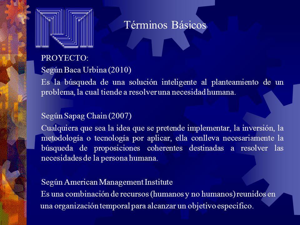 PROYECTO: Según Baca Urbina (2010) Es la búsqueda de una solución inteligente al planteamiento de un problema, la cual tiende a resolver una necesidad