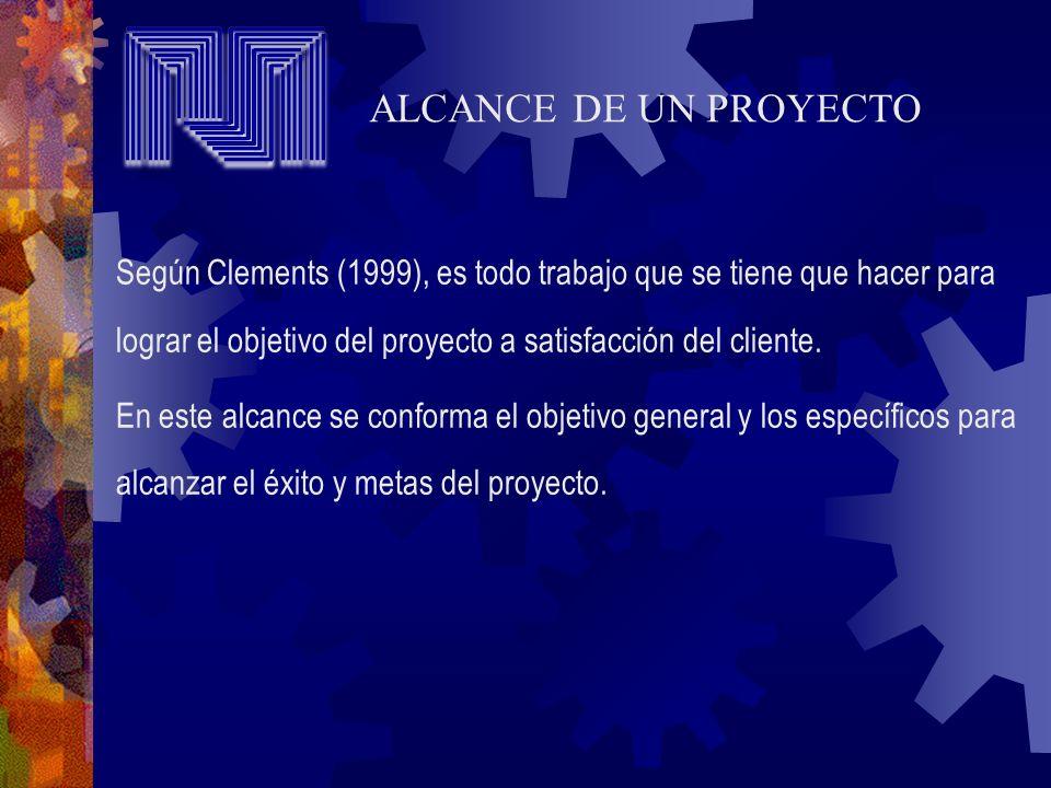 Según Clements (1999), es todo trabajo que se tiene que hacer para lograr el objetivo del proyecto a satisfacción del cliente. En este alcance se conf