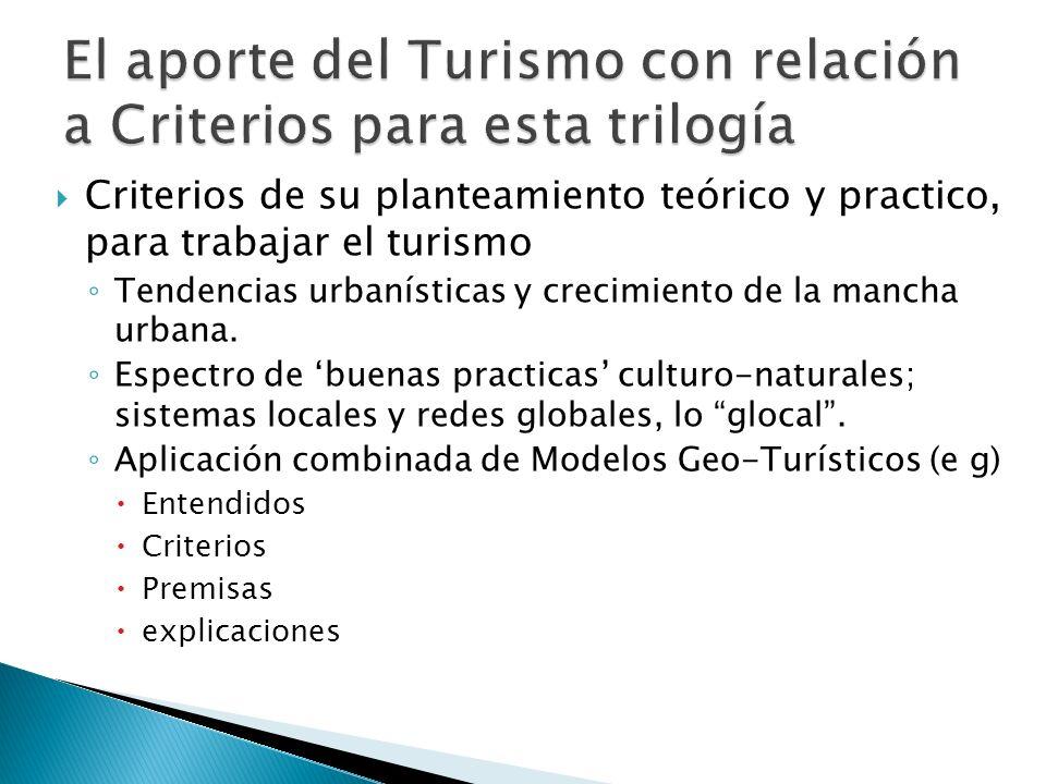 Criterios de su planteamiento teórico y practico, para trabajar el turismo Tendencias urbanísticas y crecimiento de la mancha urbana. Espectro de buen