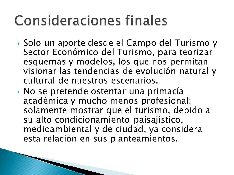 Solo un aporte desde el Campo del Turismo y Sector Económico del Turismo, para teorizar esquemas y modelos, los que nos permitan visionar las tendenci