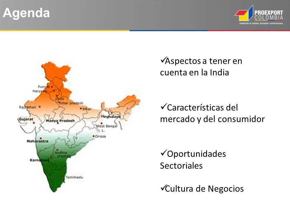 Agenda Aspectos a tener en cuenta en la India Características del mercado y del consumidor Oportunidades Sectoriales Cultura de Negocios