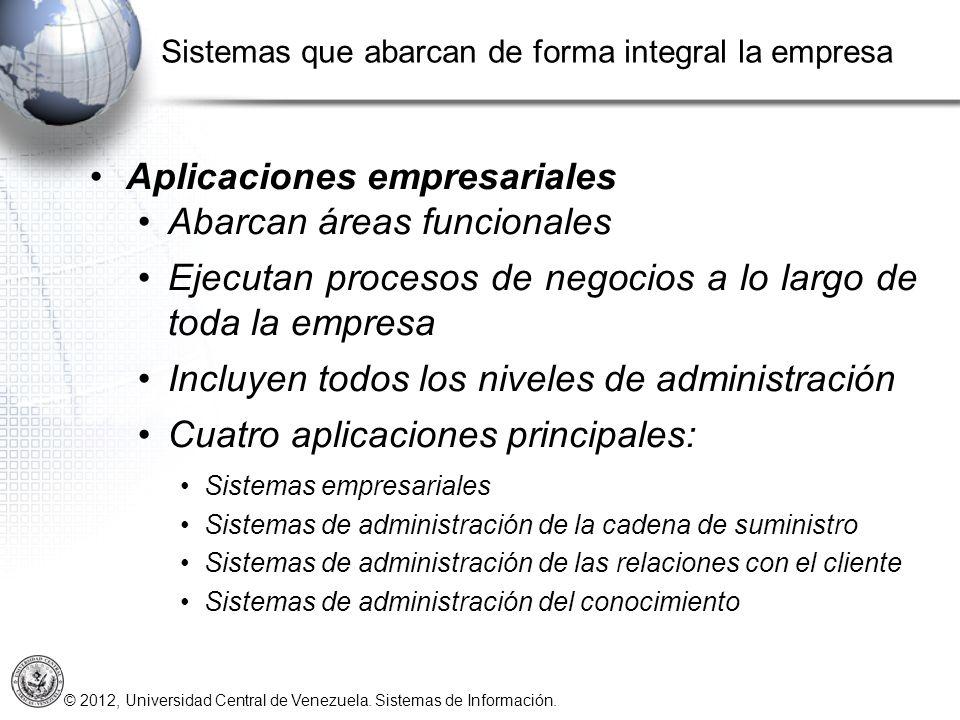 © 2012, Universidad Central de Venezuela. Sistemas de Información. Aplicaciones empresariales Abarcan áreas funcionales Ejecutan procesos de negocios