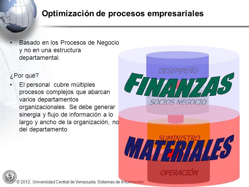 © 2012, Universidad Central de Venezuela. Sistemas de Información. Basado en los Procesos de Negocio y no en una estructura departamental. ¿Por qué? E