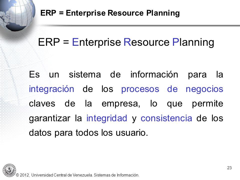 © 2012, Universidad Central de Venezuela. Sistemas de Información. ERP = Enterprise Resource Planning 23 ERP = Enterprise Resource Planning Es un sist