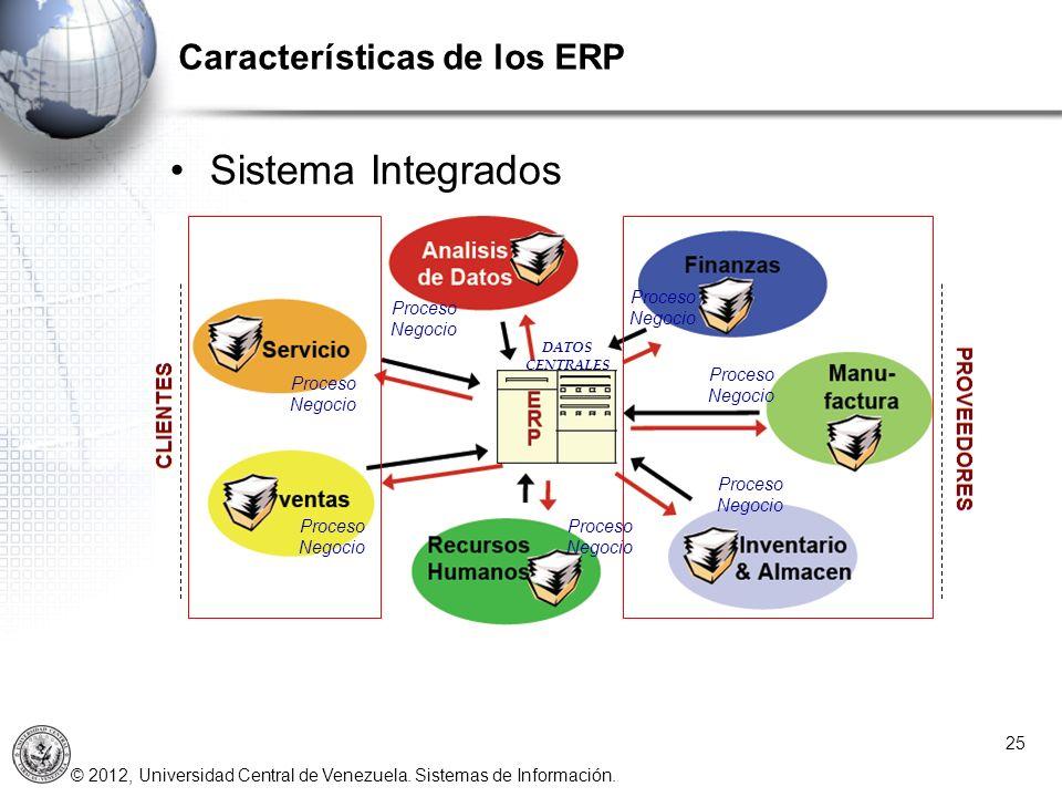 © 2012, Universidad Central de Venezuela. Sistemas de Información. Características de los ERP 25 Sistema Integrados DATOS CENTRALES Proceso Negocio Pr