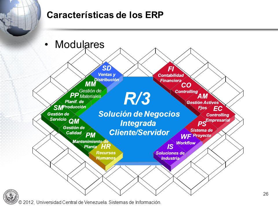 © 2012, Universidad Central de Venezuela. Sistemas de Información. Características de los ERP 26 Modulares R/3 FI Contabilidad Financiera CO Controlli
