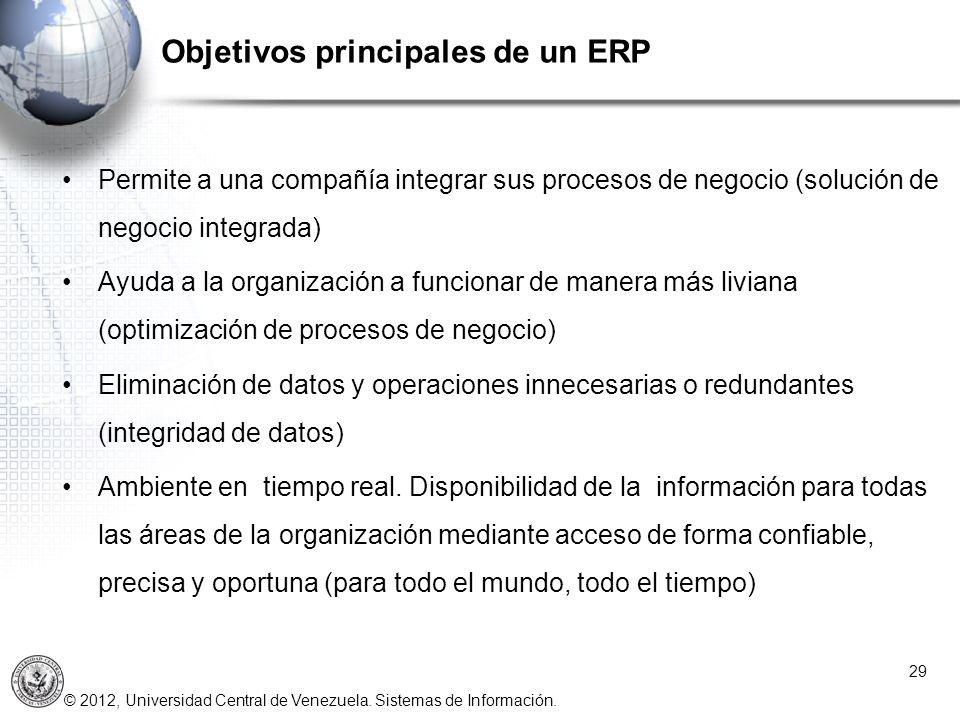 © 2012, Universidad Central de Venezuela. Sistemas de Información. Objetivos principales de un ERP 29 Permite a una compañía integrar sus procesos de