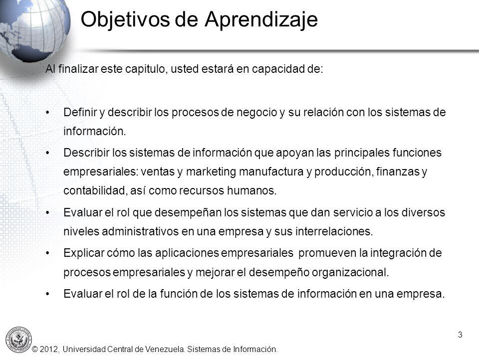 © 2012, Universidad Central de Venezuela. Sistemas de Información. Objetivos de Aprendizaje Al finalizar este capitulo, usted estará en capacidad de: