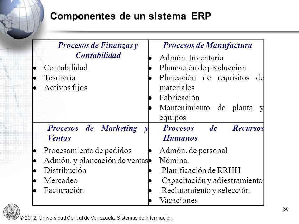 © 2012, Universidad Central de Venezuela. Sistemas de Información. Componentes de un sistema ERP 30 Procesos de Finanzas y Contabilidad Contabilidad T