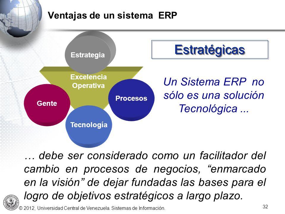 © 2012, Universidad Central de Venezuela. Sistemas de Información. 32 EstratégicasEstratégicas … debe ser considerado como un facilitador del cambio e
