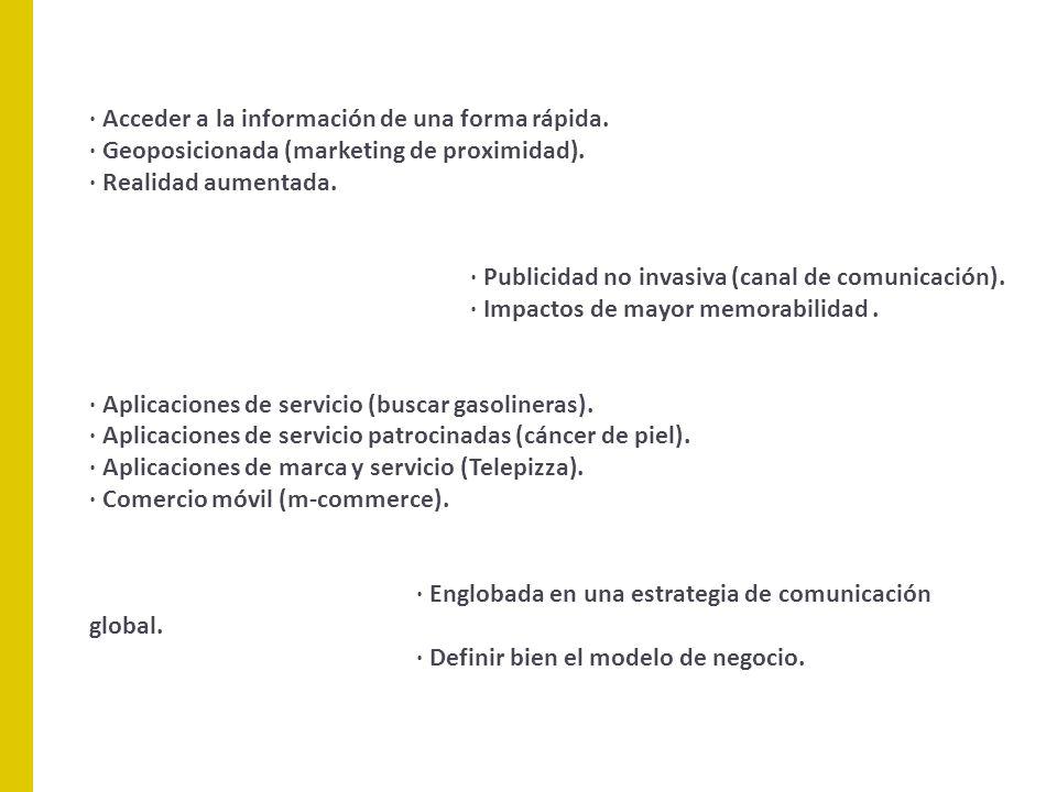 · Acceder a la información de una forma rápida. · Geoposicionada (marketing de proximidad). · Realidad aumentada. · Publicidad no invasiva (canal de c