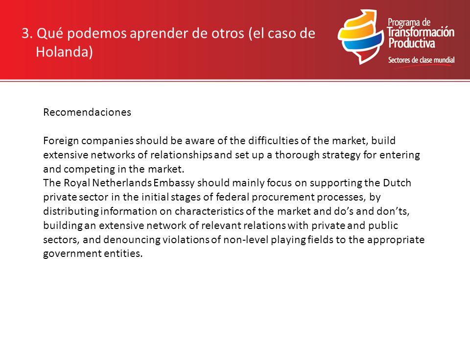 3. Qué podemos aprender de otros (el caso de Holanda) Recomendaciones Foreign companies should be aware of the difficulties of the market, build exten