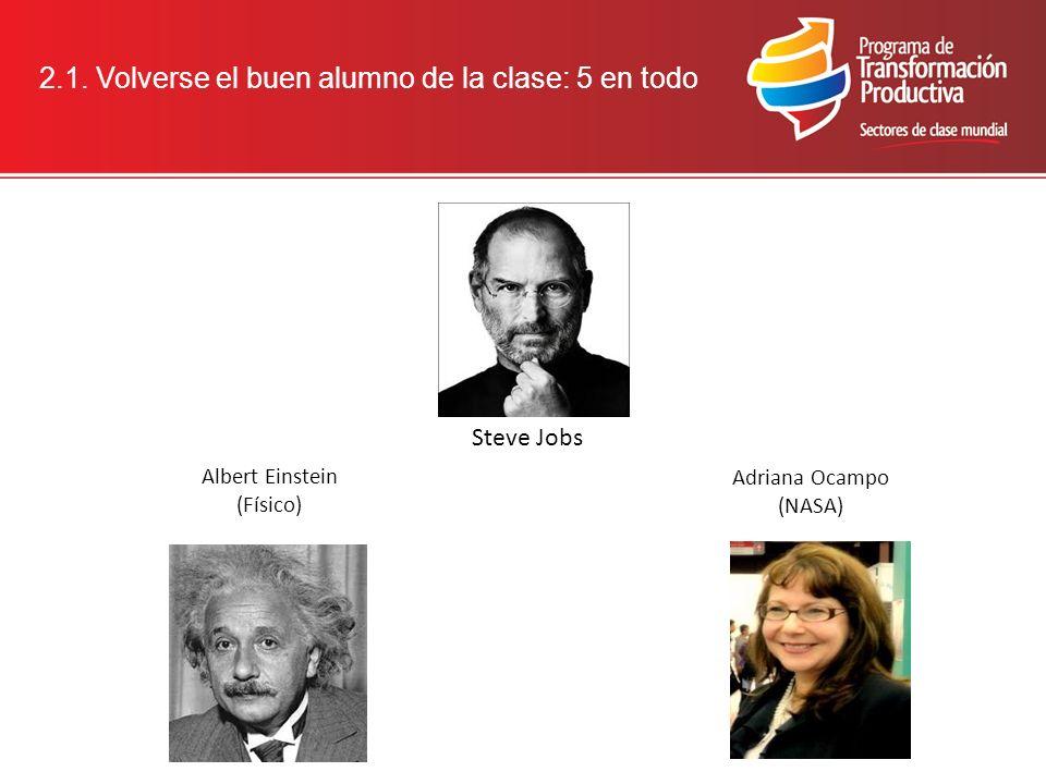 2.1. Volverse el buen alumno de la clase: 5 en todo Adriana Ocampo (NASA) Steve Jobs Albert Einstein (Físico)