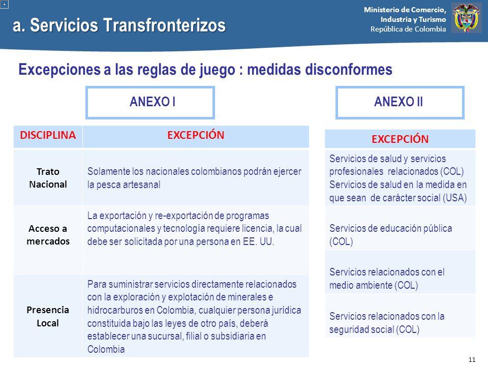 Ministerio de Comercio, Industria y Turismo República de Colombia a. Servicios Transfronterizos Excepciones a las reglas de juego : medidas disconform