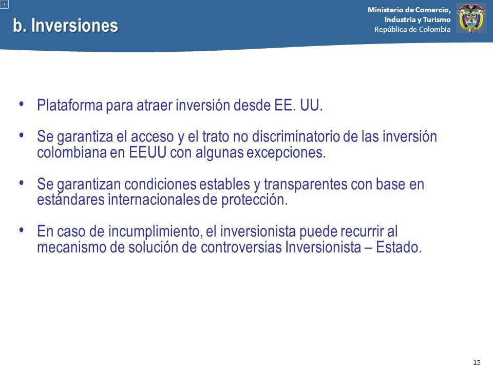 Ministerio de Comercio, Industria y Turismo República de Colombia b. Inversiones Plataforma para atraer inversión desde EE. UU. Se garantiza el acceso