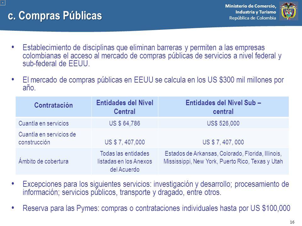 Ministerio de Comercio, Industria y Turismo República de Colombia c. Compras Públicas Establecimiento de disciplinas que eliminan barreras y permiten