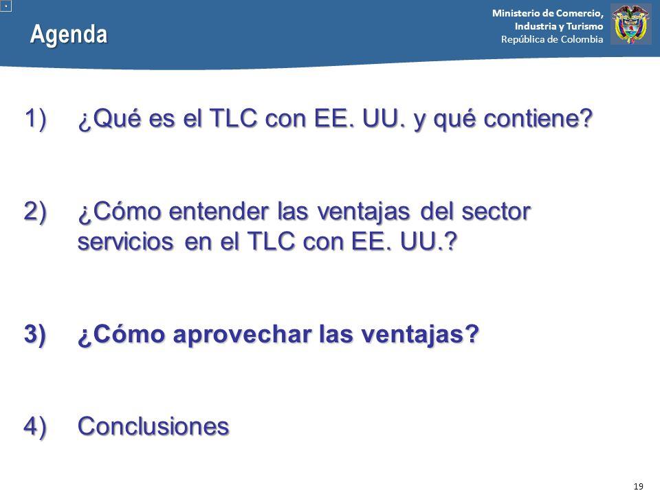Ministerio de Comercio, Industria y Turismo República de Colombia 1)¿Qué es el TLC con EE. UU. y qué contiene? 2)¿Cómo entender las ventajas del secto