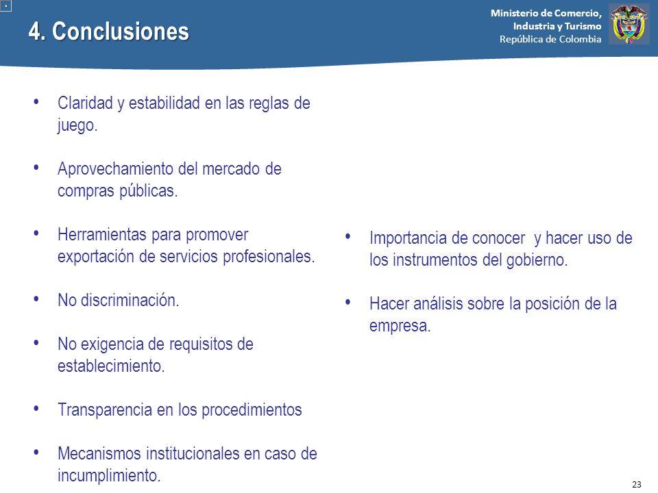 Ministerio de Comercio, Industria y Turismo República de Colombia 4. Conclusiones Claridad y estabilidad en las reglas de juego. Aprovechamiento del m
