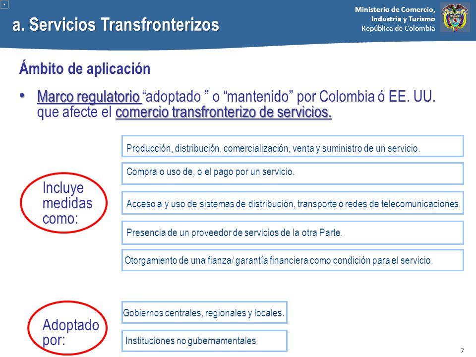 Ministerio de Comercio, Industria y Turismo República de Colombia a. Servicios Transfronterizos Ámbito de aplicación Marco regulatorio comercio transf
